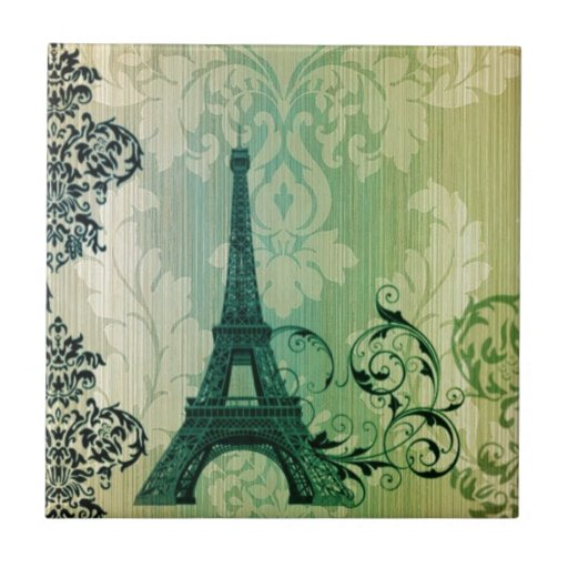 vintage floral femenino de la torre Eiffel de Parí Tejas Cerámicas