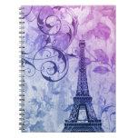 vintage floral femenino de la torre Eiffel de Parí Libros De Apuntes Con Espiral