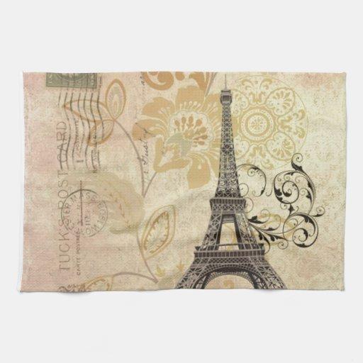 vintage floral femenino de la torre Eiffel de Parí Toallas