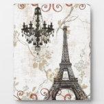 Vintage floral femenino París de la torre Eiffel d Placas De Plastico