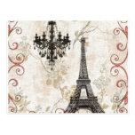 Vintage floral femenino París de la torre Eiffel d Postales
