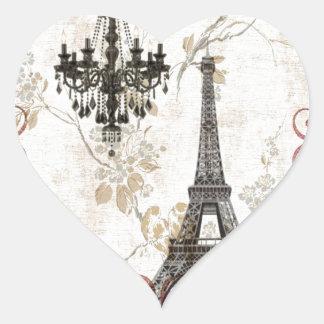 Vintage floral femenino París de la torre Eiffel Pegatina En Forma De Corazón