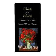 Vintage floral  fine art wedding wine label labels