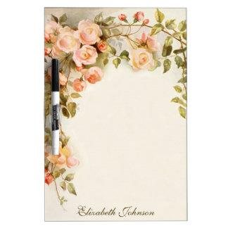 Vintage floral, flores color de rosa rosadas tableros blancos