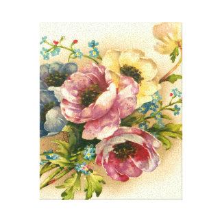 vintage floral, flores lienzo envuelto para galerias