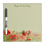 Vintage floral, flores rojas de la amapola en un p pizarras blancas