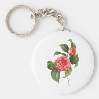 Vintage floral, flores rosadas de la camelia por llavero redondo tipo pin