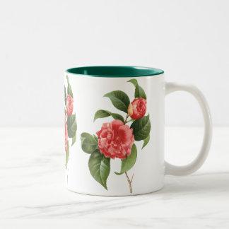 Vintage floral, flores rosadas de la camelia por taza de dos tonos