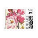 Vintage floral, flores rosadas florecientes de la sello