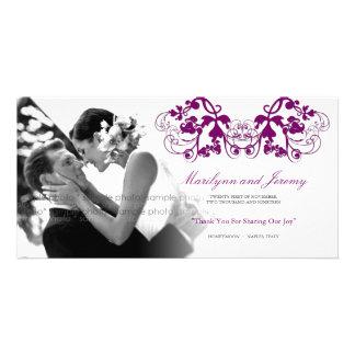 Vintage Floral Flourish Purple Wedding Thank You Photo Card