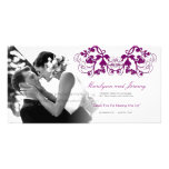 Vintage Floral Flourish Purple Wedding Thank You Personalized Photo Card