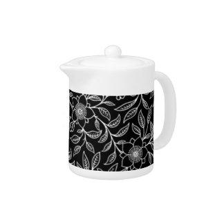 Vintage Floral Flowers Leaf Teapot