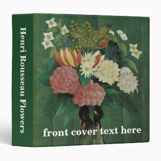 Vintage Floral, Flowers with Ivy by Henri Rousseau 3 Ring Binder