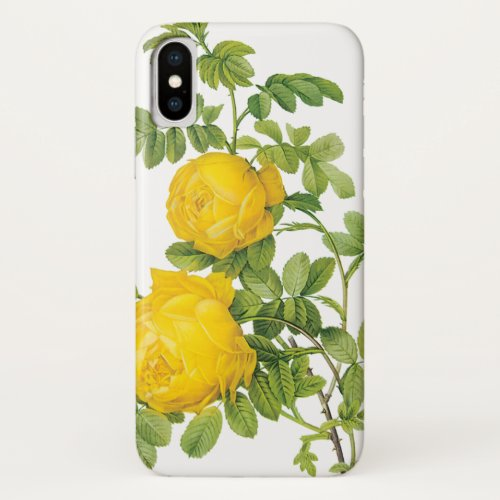 Vintage Floral Flowers, Yellow Roses by Redoute Phone Case