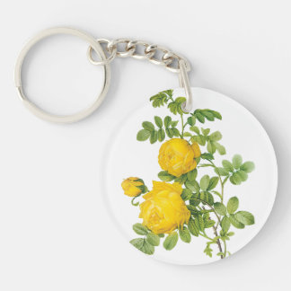 Vintage Floral Flowers, Yellow Roses by Redoute Double-Sided Round Acrylic Keychain