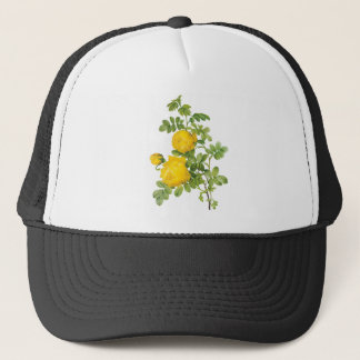 Vintage Floral Flowers, Yellow Roses by Redoute Trucker Hat