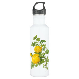 Vintage Floral Flowers, Yellow Roses by Redoute Water Bottle