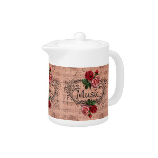 Vintage Floral For love of Music Teapot