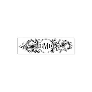 Vintage floral frame and initials wedding