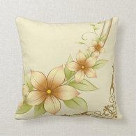 Vintage Floral Frame Throw Pillow