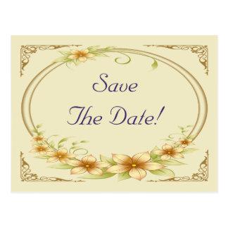 Vintage Floral Frame Wedding Save The Date Postcard