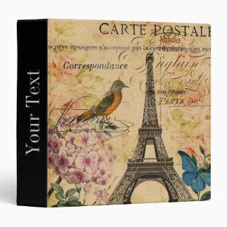 Vintage floral French Bird Paris Eiffel Tower Binder
