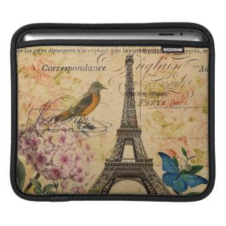 Vintage floral French Bird Paris Eiffel Tower iPad Sleeve