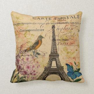 Vintage floral French Bird Paris Eiffel Tower Throw Pillow