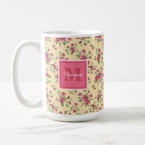 Vintage Floral French Country Pink Yellow Monogram Coffee Mug