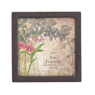 Vintage Floral French Perfume Label Gift Box