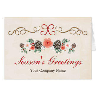 Vintage Floral Frosted Pine Cone Company Holiday Stationery Note Card