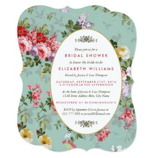 Vintage Floral Garden Botanical Bridal Shower Card