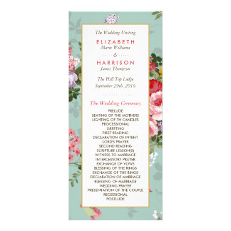 Vintage Floral Garden Botanical Wedding Program