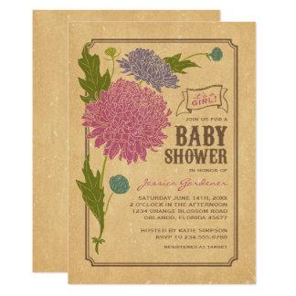 Vintage Floral Garden Party Baby Shower Invite
