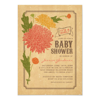 "Vintage Floral Garden Party Baby Shower Invite 5"" X 7"" Invitation Card"