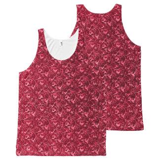 Vintage Floral Garnet Ruby Red All-Over Print Tank Top