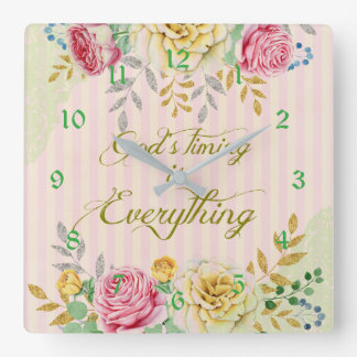 Vintage Floral God's Timing Square Wall Clock