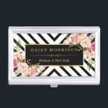 """Vintage Floral Gold Black White Abstract Stripes Business Card Case<br><div class=""""desc"""">================= ABOUT THIS DESIGN ================= Vintage Floral Gold Black White Abstract Stripes Business Card Holder. (1) All text style, colors, sizes can also be modified to fit your needs. (2) If you need any customization or matching items, please contact me. (3) You can find matching products (e.g. Business Card, Appointment...</div>"""
