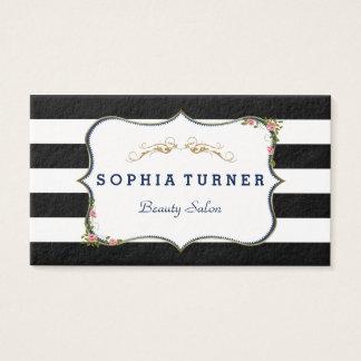 Vintage Floral Gold Black & White Stripes Business Card