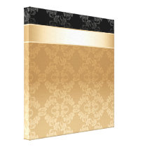 Vintage,floral,gold,damask,black,ribbon,pattern, Canvas Print