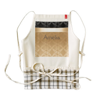 Vintage,floral,gold,damask,black,ribbon,pattern,ch Zazzle HEART Apron