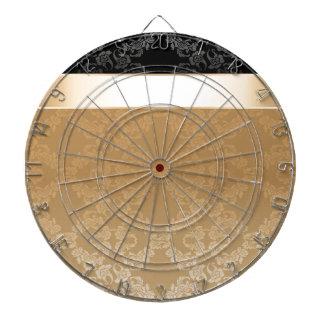 Vintage,floral,gold,damask,black,ribbon,pattern Dart Board