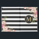 """Vintage Floral Gold Girly Black White Stripes iPad Pro 12.9"""" Case<br><div class=""""desc"""">Protect your iPad in Style with this """"Beautiful Vintage Floral Wrapped Black White Stripes Monogram"""" Personalized Case. You can add your text or monogram on this design. This personalized case will be printed on-demand and just for you!</div>"""