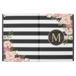 Vintage Floral Gold Girly Black White Stripes iPad Pro 12.9&quot; Case<br><div class='desc'>Protect your iPad in Style with this &quot;Beautiful Vintage Floral Wrapped Black White Stripes Monogram&quot; Personalized Case. You can add your text or monogram on this design. This personalized case will be printed on-demand and just for you!</div>
