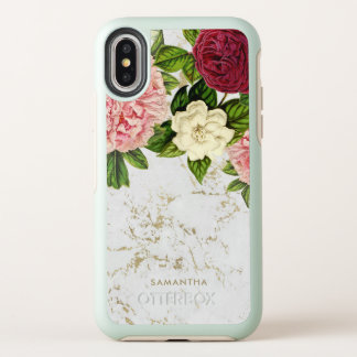 Vintage Floral Gold Marble Custom OtterBox Symmetry iPhone X Case