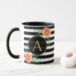 "Vintage Floral Gold Monogram Black White Striped Mug<br><div class=""desc"">Give this mug as an elegant luxury gift, or buy it for yourself! This black and white striped rich gold monogram mug features a black circle monogram background element bordered with rich gold, and the design is embellished with beautiful watercolor roses and delicate green foliage. The design is the same...</div>"