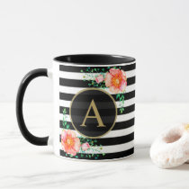 Vintage Floral Gold Monogram Black White Striped Mug