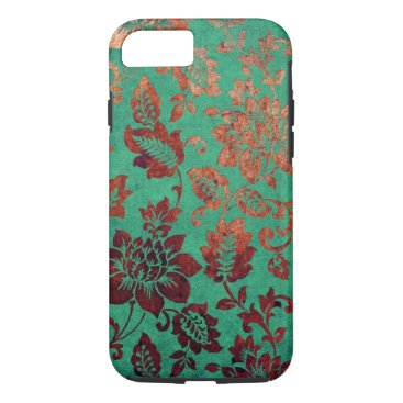 Vintage floral green and rust orange iPhone 7 case