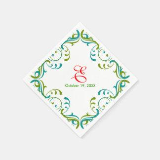 Vintage Floral Green Blue Wedding Birthday Napkin