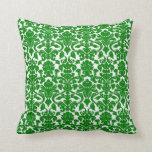 Vintage Floral Green  Damask Pillow